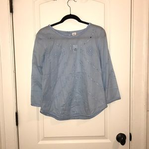 Gap Eyelet Flow Top Blue Focus